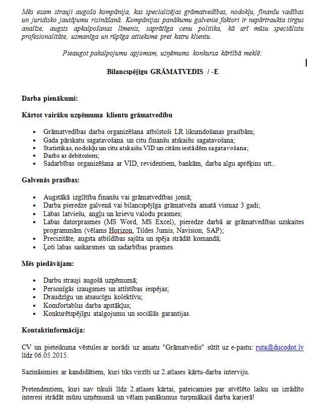 Darba piedāvājumi - Darbs - CV Market vakance Projektu grāmatvedis/-e darbam Cēsīs, Cēsis