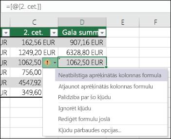 formulas opciju aprēķināšanai